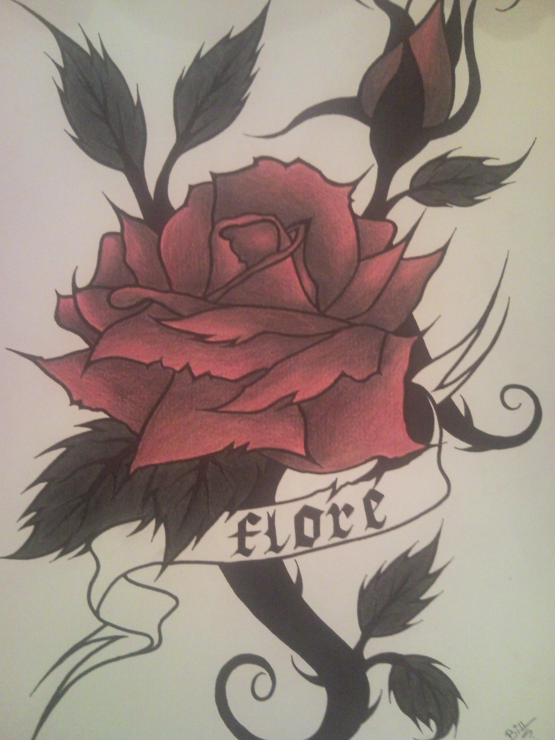 The egde of the earth rose rouge pour simon - Rose rouge tatouage ...